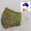 SALE! Extra large for adult male/female - green peacock feather pattern facemask