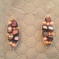 Pink howlite and mulberry mother of pearl dangle 925 sterling silver earrings