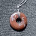 Red Jasper donut pendant, natural gemstone, Sterling silver wire wrapped