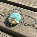 Handmade Glass Lampwork Ocean Coin Lentil Bead Large