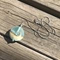 Handmade Glass Lampwork Ocean Coin Lentil Bead Sterling Silver Necklace OOAK