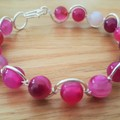 Rose agate wire wrapped bracelet, pink agate beaded silver plated wire bracelet