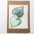 Two hearts become One, Mini art works of LOVE - Original watercolour card