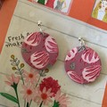 Handmade, Protea inspired polymer clay earrings