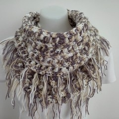 Crochet infinity scarf with tassels