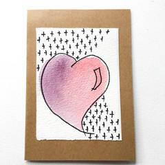 Big Hearted, Mini art works of LOVE - Original watercolour card