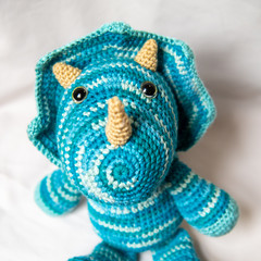 Crocheted Triceratops Dinosaur Softie Toy