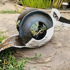 Cooka the Kookaburra Go Cart Tyre Pot Plant Retro Revival Recycle