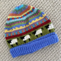 Blue sheep Beanie - to fit size 4-8 years -hand knitted