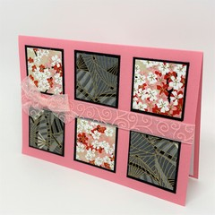 Blank Card - Pink Chiyogami squares