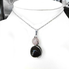 Garnet Pink Kunzite gemstone pendant, sterling silver wire wrapped