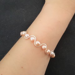 Champagne rice pearl beaded cuff bracelet, Freshwater pearl wire wrapped bangle
