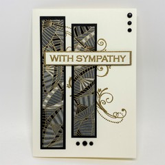 Sympathy Card - Gold, grey and black patterned Chiyogami Paper