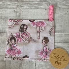 Travel pouch, toiletry bag, kids travel pouch, ballerina print