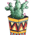 Geometric Potted Cactus Watercolour and Ink Art Greeting Card, Blank, A6 size