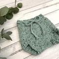 Crochet High Waist Bloomers and bonnet set , Baby Girls Shorts