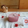 "Be my Valentine Pomegranate and Sage ""Heart"" candle"