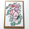Wreath of Hearts, Mini art works of LOVE - Original watercolour card