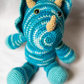 Crocheted Triceratops Dinosaur Softie Toy