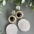 Polymer Clay Earrings - Starburst Circle with spinning bead