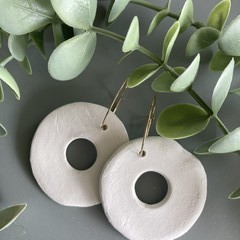 Polymer Clay Earrings - Sparkly Donut on Golden Hoop