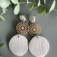 Polymer Clay Earrings - Reed texture with timber filigree disc