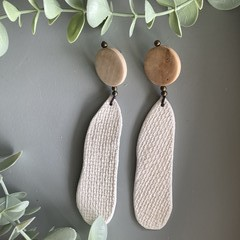 Polymer Clay Earrings - Hessian texture with timber disc