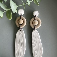 Polymer Clay Earrings - Reed cut with timber ball and circle
