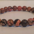 B Real ~ Gemstone Stretch Beaded Bracelet (Rhodonite)