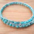 Turquoise tigers eye beaded memory wire bracelet/bangle
