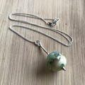 Handmade Glass Lampwork Ocean Marble Bead Sterling Silver Necklace OOAK