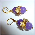 Lavender Amethyst and gold earrings