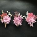 Gift Box - 3 Mini dried bouquets - Pink  - Napkin/Table decor, wedding