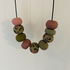 Green and pink leopard necklace #2