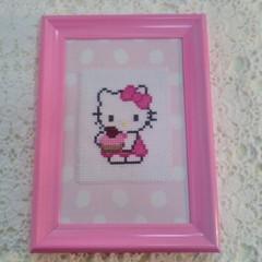 Baby girl `Hello Kitty cross stitch nursery bedroom art