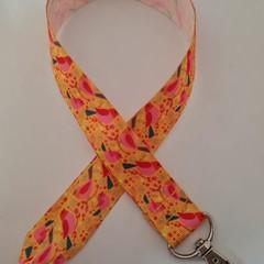 Bright yellow red and pink bird print lanyard / ID holder / badge holder