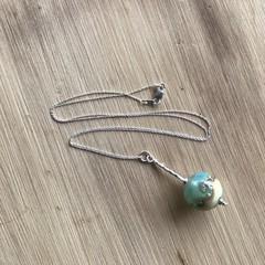 Handmade Glass Lampwork Ocean Marble Bead Sterling Silver Necklace OOAK