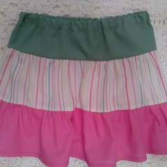 Girls peasant  skirt - size 3 - pink/olive green