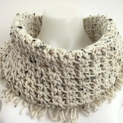 Infinity scarf with tassels.