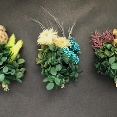 Gift Box - 3 Mini dried bouquets - Green  - Napkin/Table decor, wedding