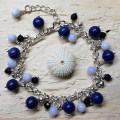 Lapis & Blue Lace Agate  - Blue Tones Bracelet