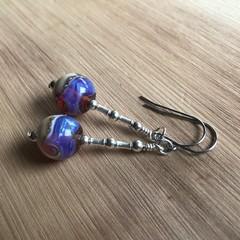 Lampwork Glass Galaxy Ocean Marble Earrings