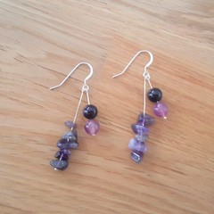 Statement purple agate and amethyst dangle 925 sterling silver hook earrings