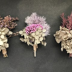 Gift Box - 3 Mini dried bouquets - Grey/purple  - Napkin/Table decor, wedding