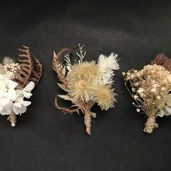Gift Box - 3 Mini dried bouquets - Natural/ White  - Napkin/Table decor, wedding