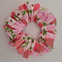 Pink cherry print scrunchie / hair accessory