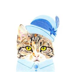 Whimsical Animal Card: Downton Tabby