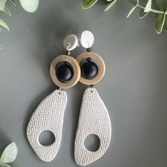 Polymer Clay Earrings - Hessian texture with floating ball