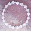 Rose Quartz natural gemstone & clear silver lined glass beaded bracelet