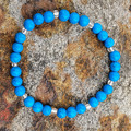 Forget The Chaos And Feel Your Calm ~ Gemstone and glass beaded stretch bracelet